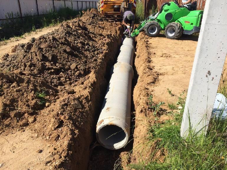 Закопать трубу в канаву